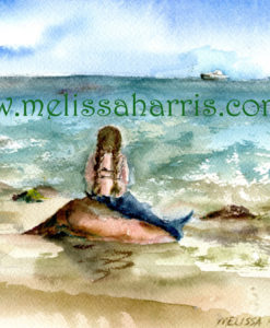 Mermaid Resting gazing at ocean