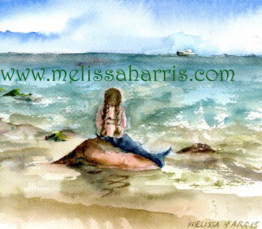Mermaid Resting gazing at ocean